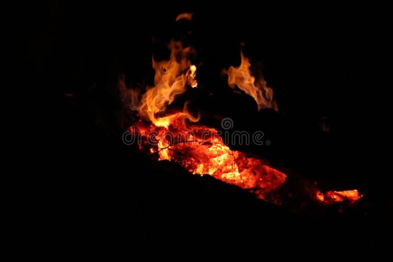 在黑暗的减少的夜篝火 免版税库存照片