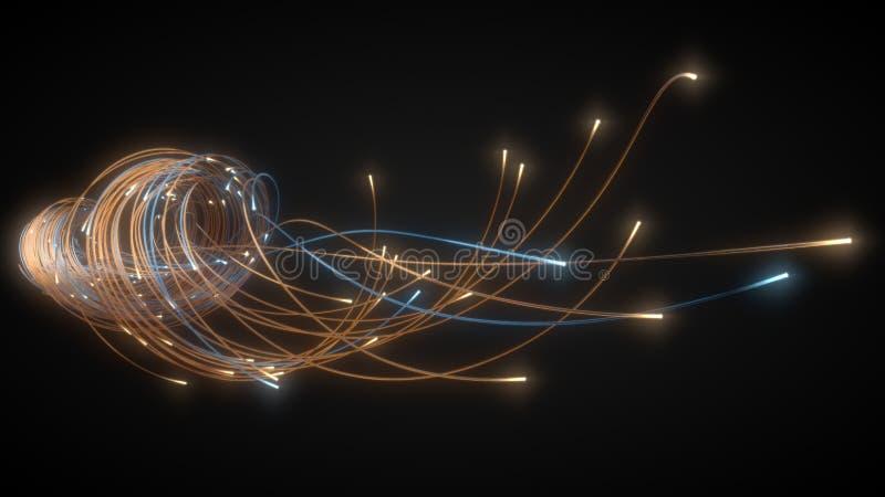 在黑暗的发光的光纤串 3d例证 库存图片