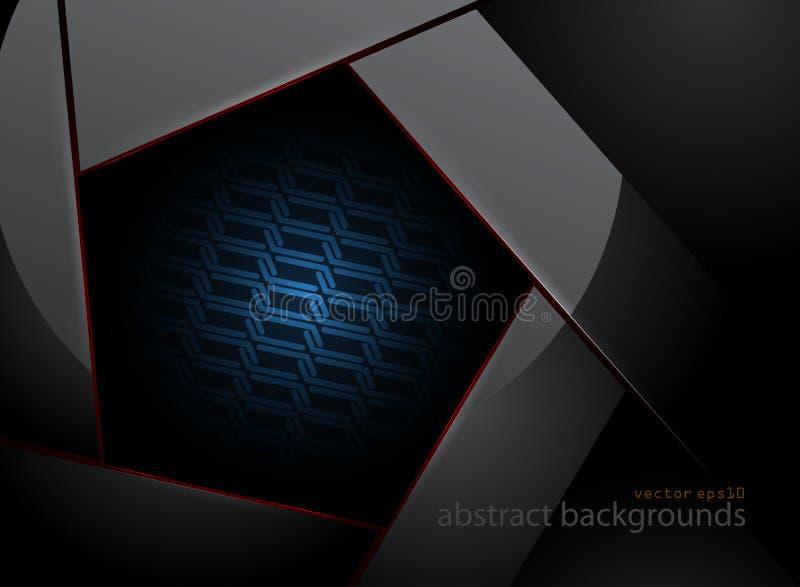 在黑暗的场面的五角形钢形状 向量例证