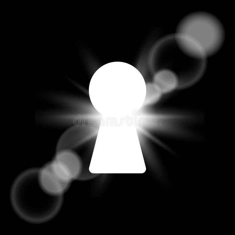 在黑暗的墙壁上的焕发匙孔有光的 向量 库存例证