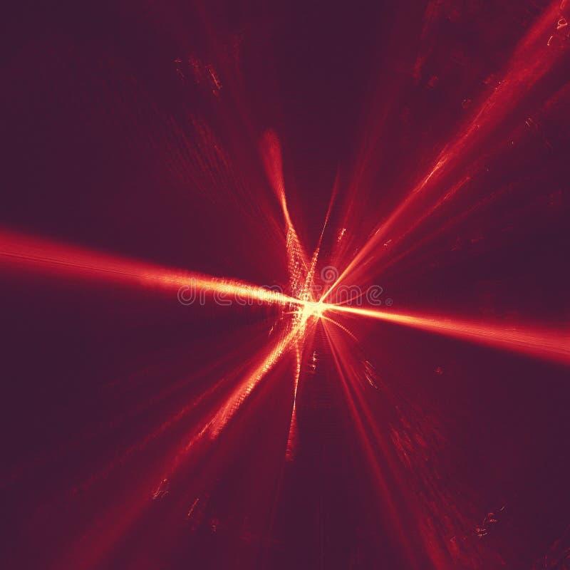 在黑暗的抽象背景空间宇宙的发光的红色弯曲的线 ?? 免版税图库摄影