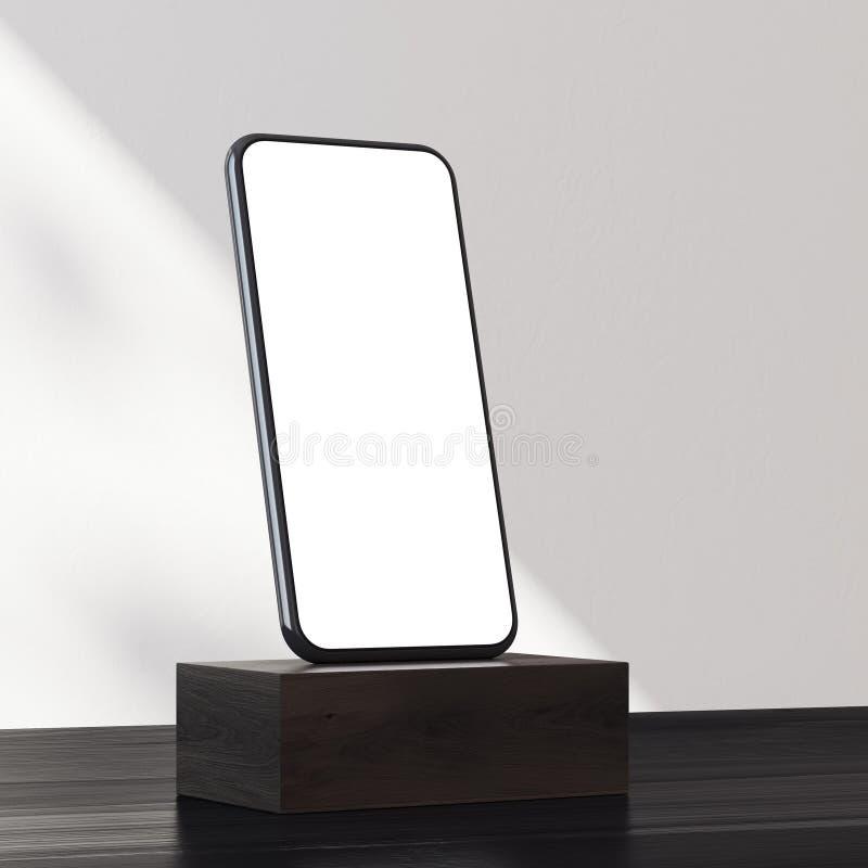 在黑暗的木垫座边的智能手机 库存例证