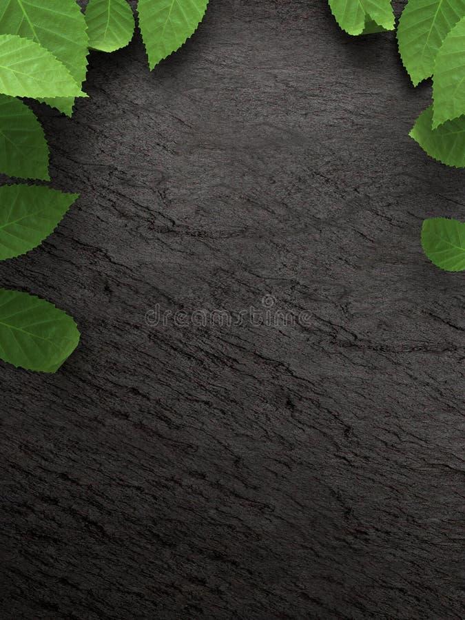 在黑暗的板岩背景的下落的叶子 五颜六色的秋天下落的叶子 免版税库存图片