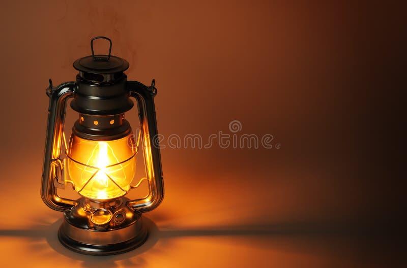 在黑暗的灼烧的煤油灯 库存图片