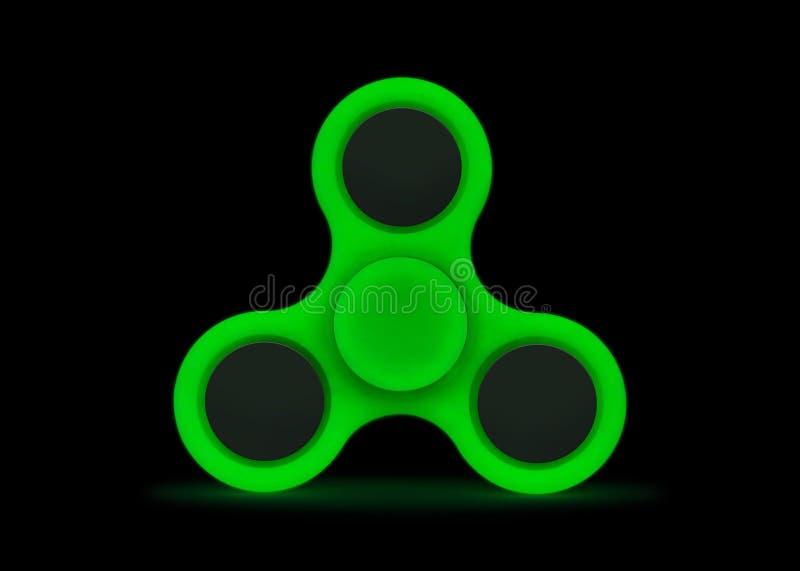 在黑暗的焕发 在白色背景隔绝的绿色坐立不安锭床工人 应力消除玩具 裁减路线或删去对象为 库存照片