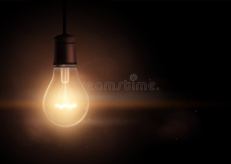 在黑暗的电灯泡 向量例证