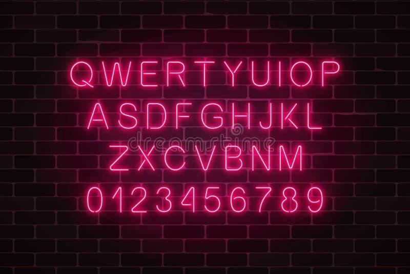 在黑暗的砖墙背景的发光的霓虹字母表字体 传染媒介霓虹样式信件 皇族释放例证