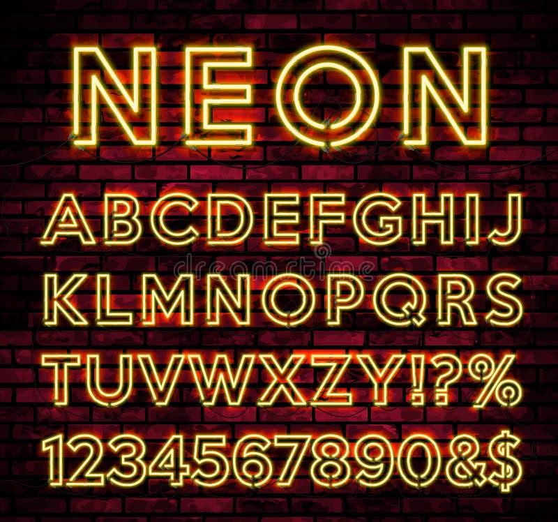 在黑暗的砖墙背景的明亮的霓虹字母表 导航数字和标志与发光的焕发作用 库存例证