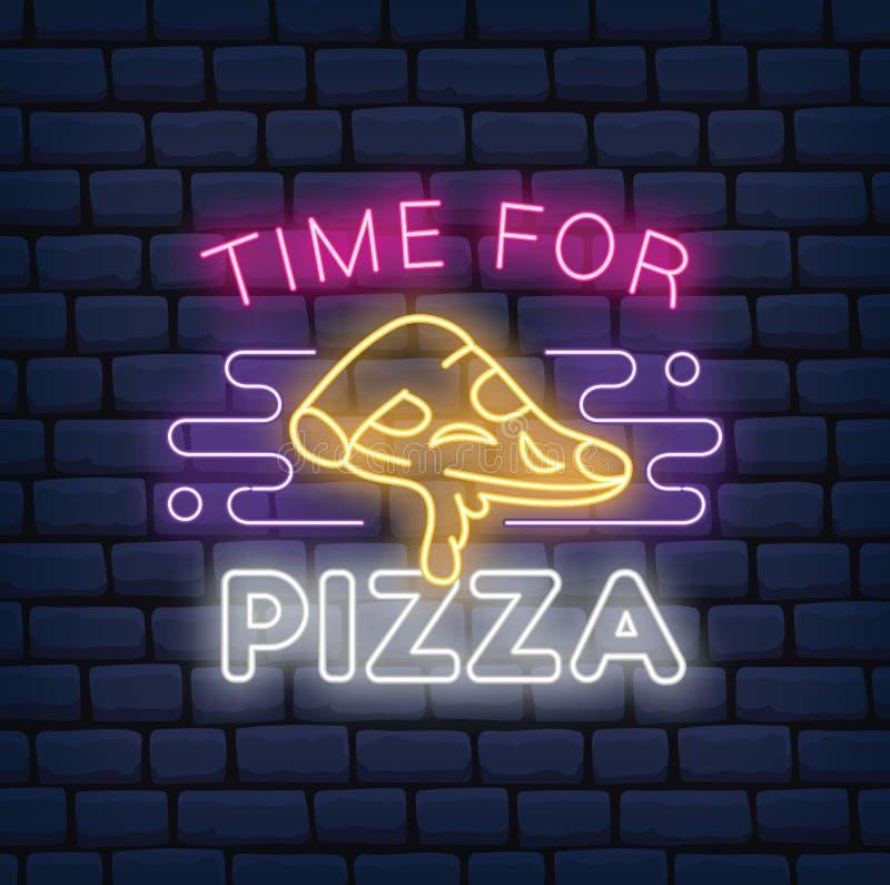 在黑暗的砖背景的比萨餐馆霓虹灯广告 皇族释放例证