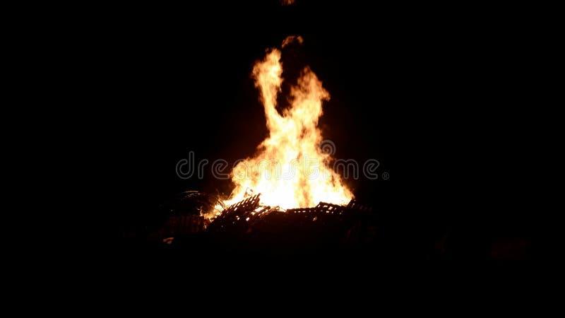 在黑暗的篝火 免版税库存照片