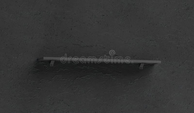 在黑暗的织地不很细墙壁登上的空白的黑书柜大模型 皇族释放例证