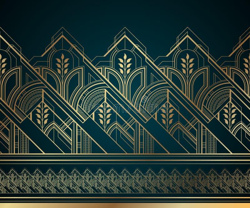 在黑暗的绿松石背景的金子艺术装饰无缝的边界 库存例证