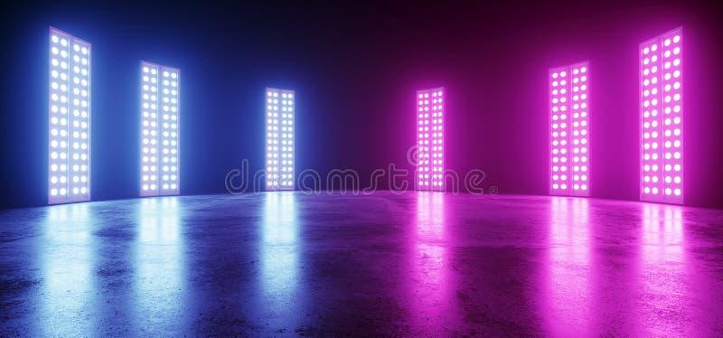 在黑暗的网络霓虹发光的科学幻想小说现代未来派减速火箭的大空的充满活力的紫色蓝色桃红色发光的阶段陈列室俱乐部舞蹈 库存例证