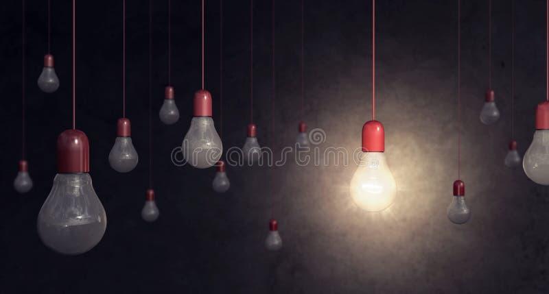 在黑暗的背景想法概念的红灯电灯泡 向量例证