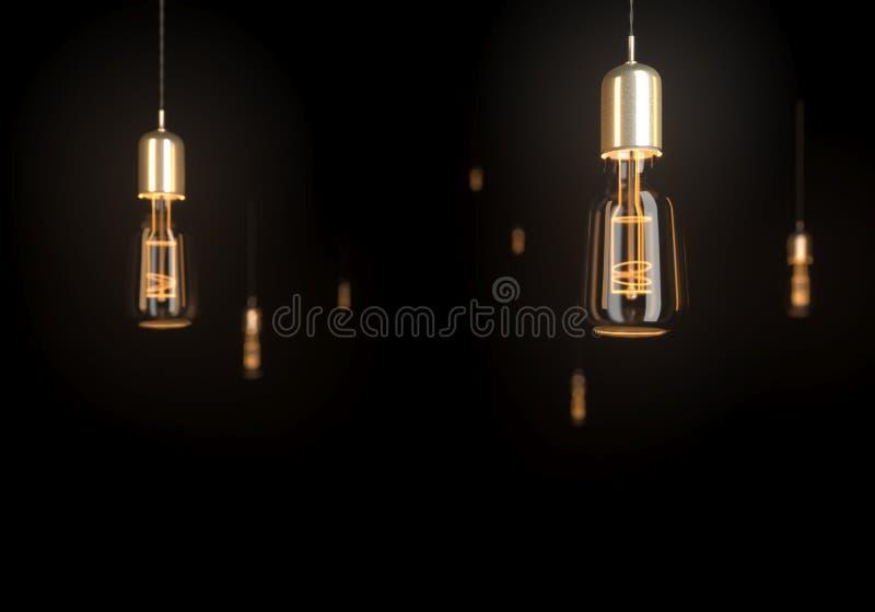 在黑暗的背景的一些葡萄酒发光的电灯泡 3d回报 皇族释放例证