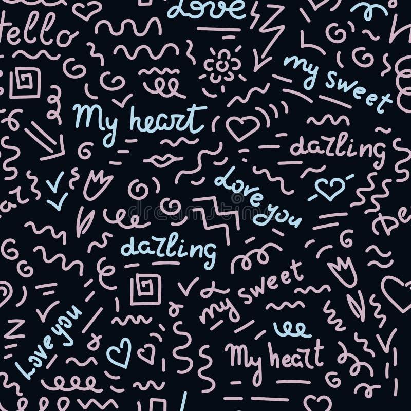 在黑暗的背景的乱画手图画无缝的样式 桃红色和蓝色词,爱词组用西班牙语 向量例证