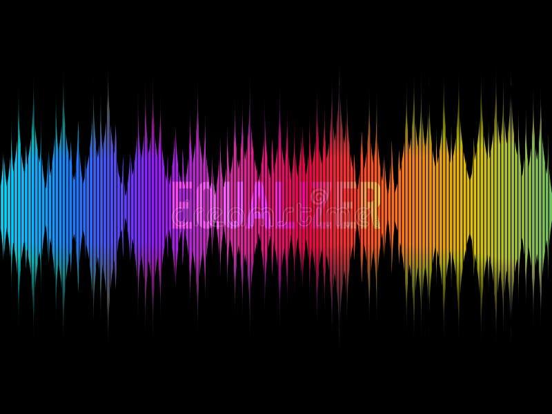 在黑暗的背景的五颜六色的调平器 彩虹波浪 颜色音乐概念 信号波形设计 声音的形象化 库存例证