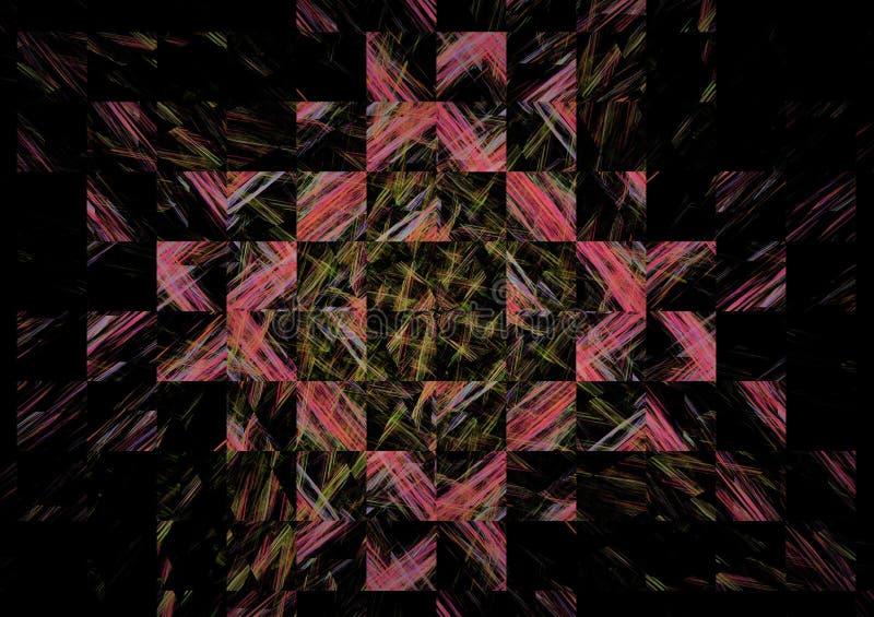 在黑暗的背景的华美的抽象分数维构成 库存图片