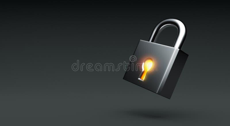 在黑暗的背景的发光的锁 库存例证