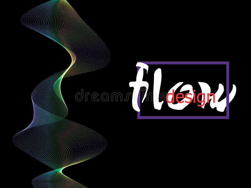 在黑暗的背景的可变的五颜六色的纹理 流程形状设计 液体波浪背景 抽象3d流程形状 上色流体 皇族释放例证
