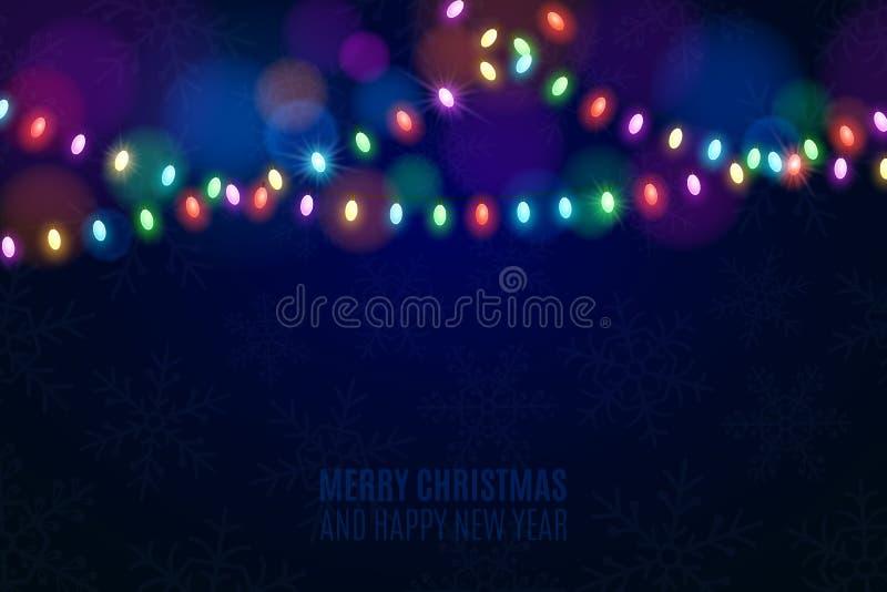 在黑暗的背景的圣诞节多彩多姿的光 在背景的雪花 庆祝的背景 多彩多姿的强光 焕发 库存例证
