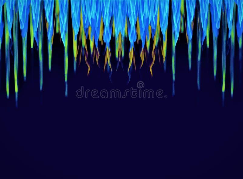 在黑暗的背景的壮观的五颜六色的抽象分数维星构成 引起用计算机 向量例证