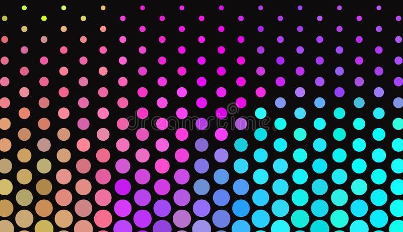 在黑暗的背景的大圆点 明亮的霓虹颜色 生动的梯度 抽象几何模式 皇族释放例证