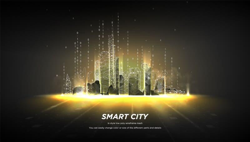 在黑暗的背景的摘要低多wireframe城市 结节线和点在星座 多角形微粒 向量 皇族释放例证