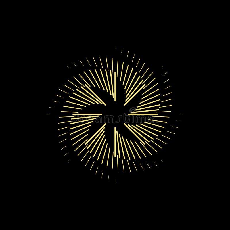 在黑暗的背景的摘要金子圆形 商标设计templa 库存例证
