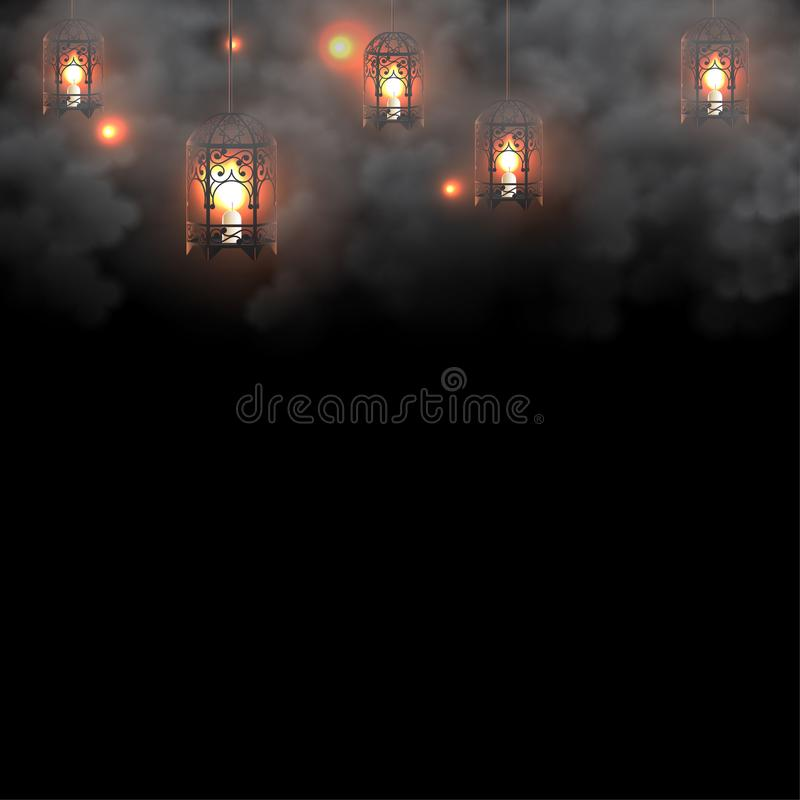 在黑暗的背景的斋月灯笼 库存例证