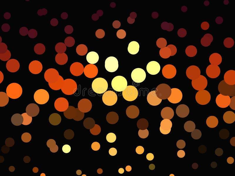 在黑暗的背景的明亮的发光的圈子 半音作用 抽象几何模式 可升级的向量图形 向量例证