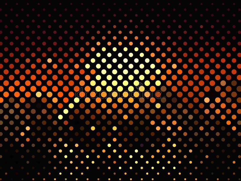 在黑暗的背景的明亮的发光的圈子 半音作用 抽象几何模式 可升级的向量图形 库存例证