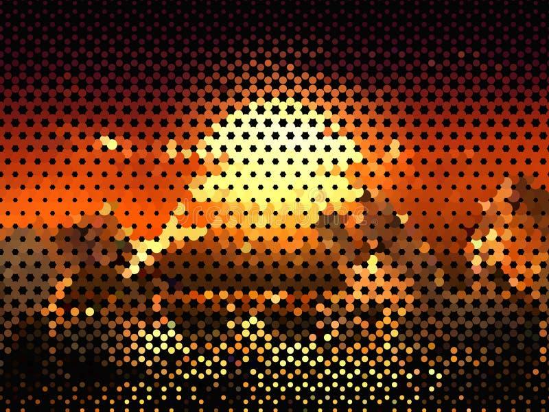 在黑暗的背景的明亮的发光的圈子 半音作用 抽象几何模式 可升级的向量图形 皇族释放例证