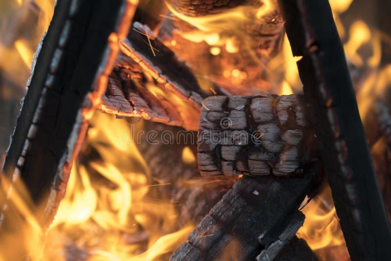 在黑暗的背景的明亮的火焰 在火以后的明亮的热 在森林巨大的篝火的篝火在森林生动的火焰 免版税库存图片