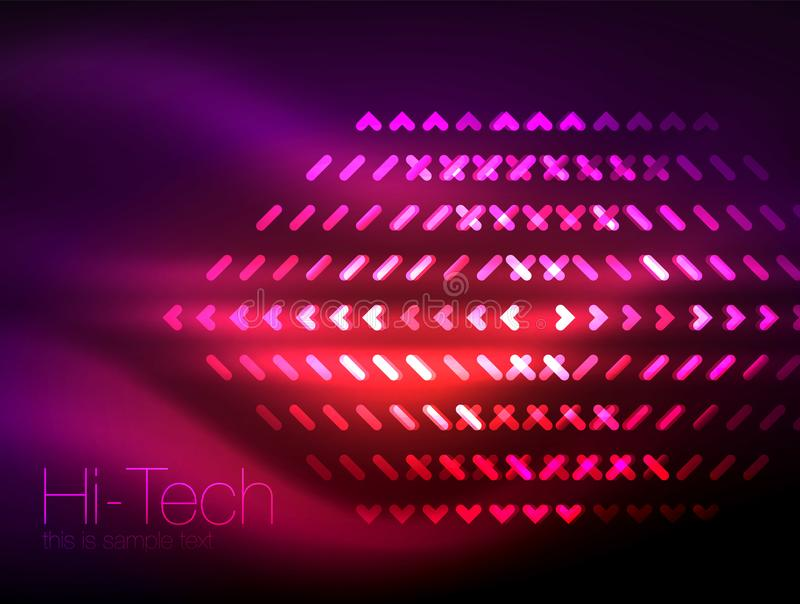 在黑暗的背景的未来派霓虹灯,数字式抽象techno背景 库存例证