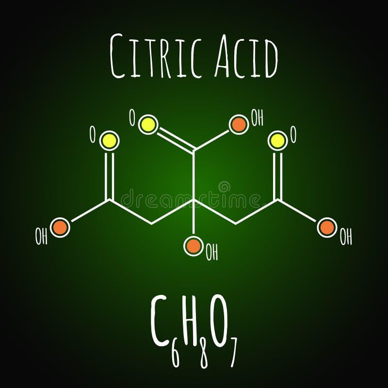 在黑暗的背景的柠檬酸结构骨骼化学式 向量例证