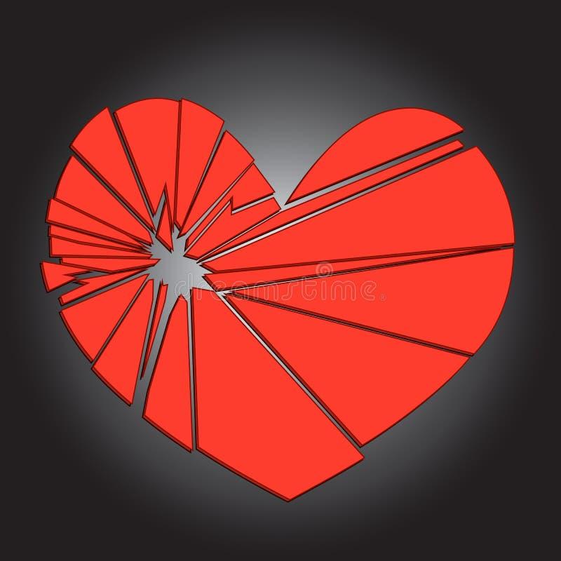 在黑暗的背景的残破的红色心脏 概念-离婚, 向量例证