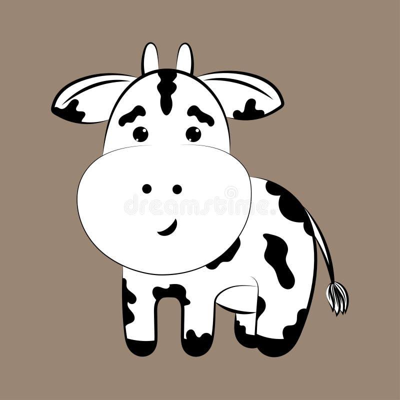 在黑暗的背景的母牛 库存例证