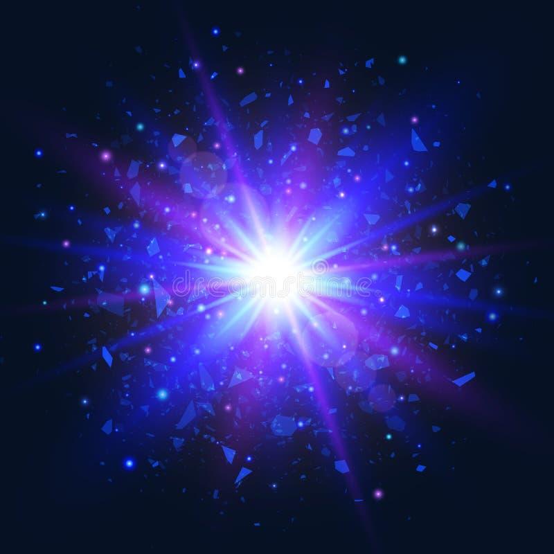 在黑暗的背景的爆炸星 与射线和闪闪发光的星爆炸 未来派光 与光芒和spotl的蓝色和紫罗兰色闪光 向量例证