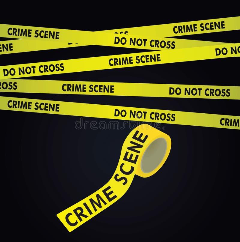 在黑暗的背景的犯罪现场磁带 皇族释放例证