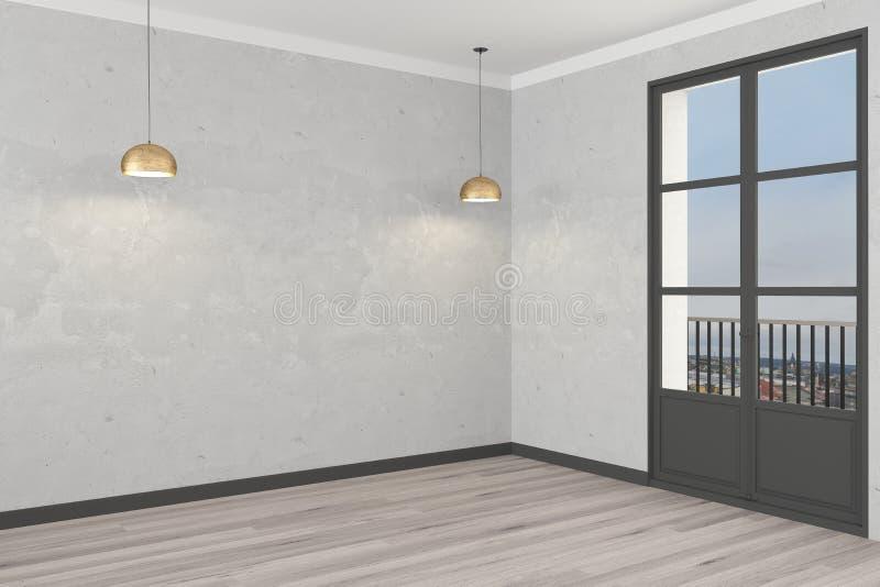 在黑暗的背景的白色空的waight墙壁与金黄spleshes 3d?? 库存例证