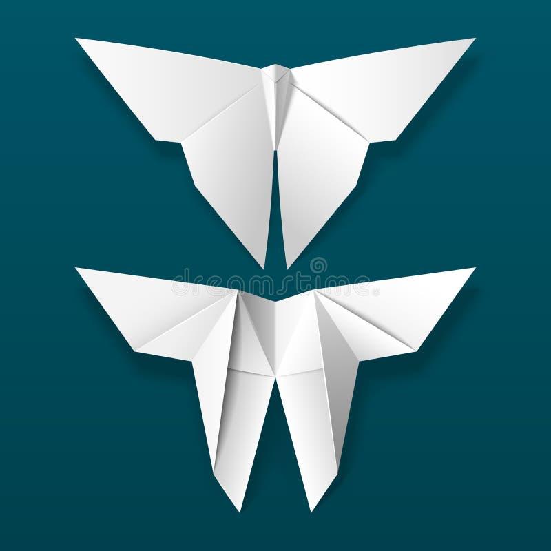 在黑暗的背景的白色origami蝴蝶 向量例证