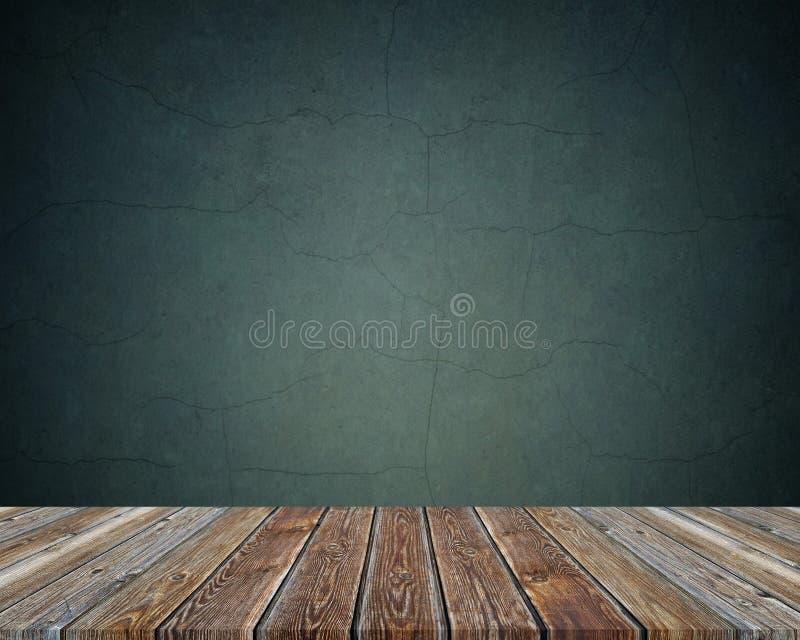 在黑暗的背景的空的木桌 纹理 免版税图库摄影