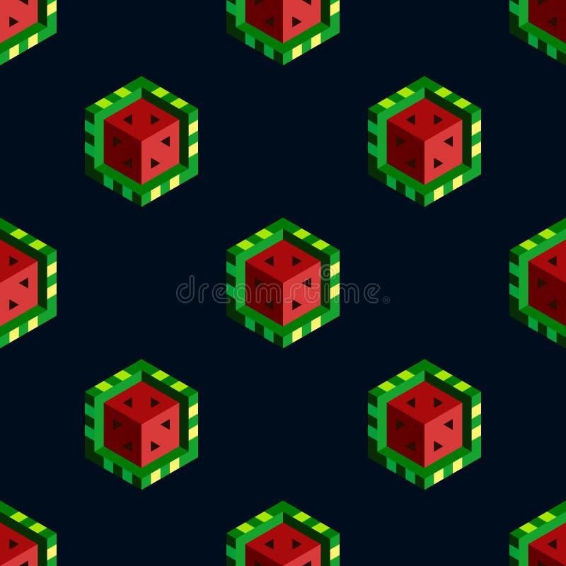 在黑暗的背景的等量立方体西瓜 无缝的模式 平的传染媒介例证 向量例证