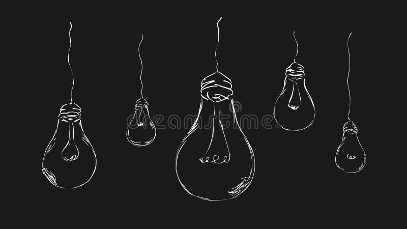 在黑暗的背景的被绘的电灯泡 库存例证