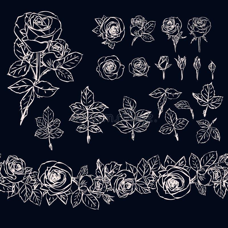 在黑暗的背景的被隔绝的概述玫瑰色元素 无缝的brus 向量例证
