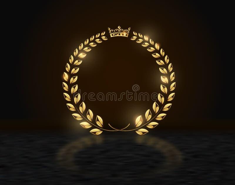 在黑暗的背景的详细的圆的金黄月桂树花圈冠奖与反射 金环锭细纱机商标 胜利,荣誉 向量例证