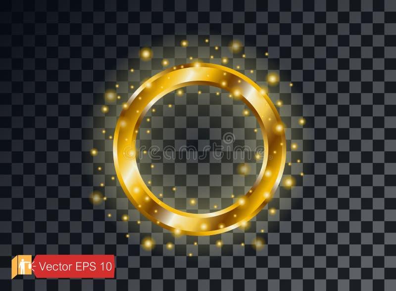 在黑暗的背景的金戒指豪华 查出 聘 定婚晚会 传染媒介金黄圈子,火花微粒 光线影响 向量例证