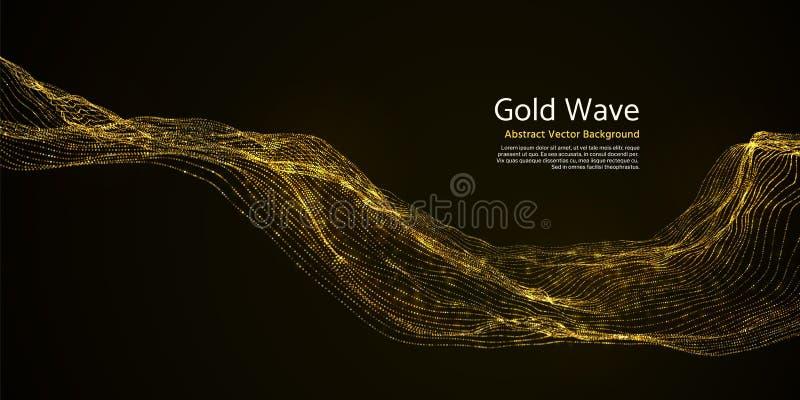 在黑暗的背景的金镶边抽象波浪 金黄眨眼睛波浪线 皇族释放例证