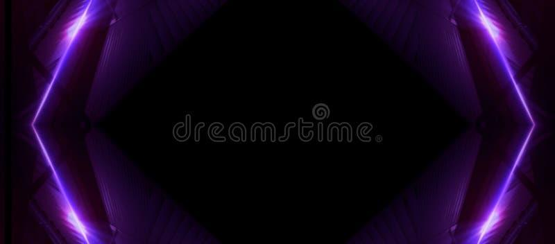 在黑暗的背景的霓虹线 空间背景,光间隔单位 抽象霓虹背景,宇宙隧道 皇族释放例证